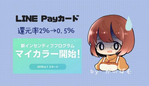 【マイカラー】月数万円使っても還元率2%→0.5%にダウン!LINE Payカードポイント