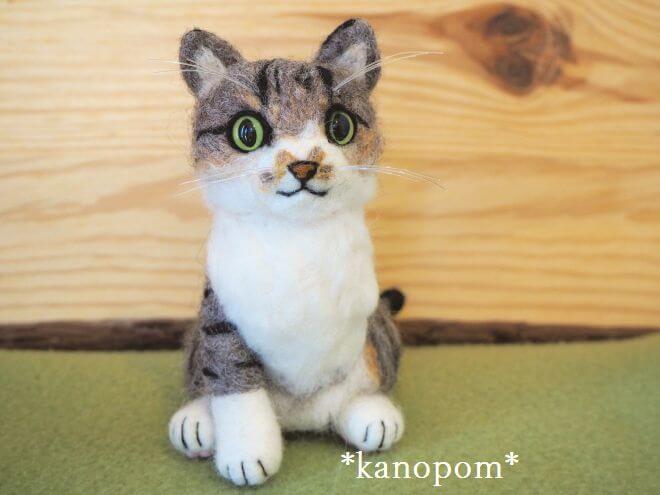 【オーダーメイド】3本足の猫「チャーミィー」くんのメモリアルドール☆羊毛フェルト